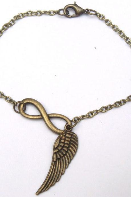 Antiqued Brass Infinity Wing Bracelet