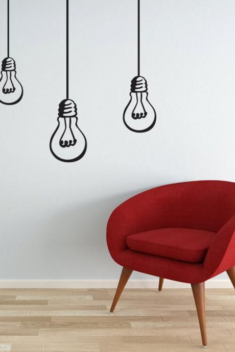 Wall Decal Bulbs hanging lights bulb decal vinyl wall sticker for any rooms modern decor