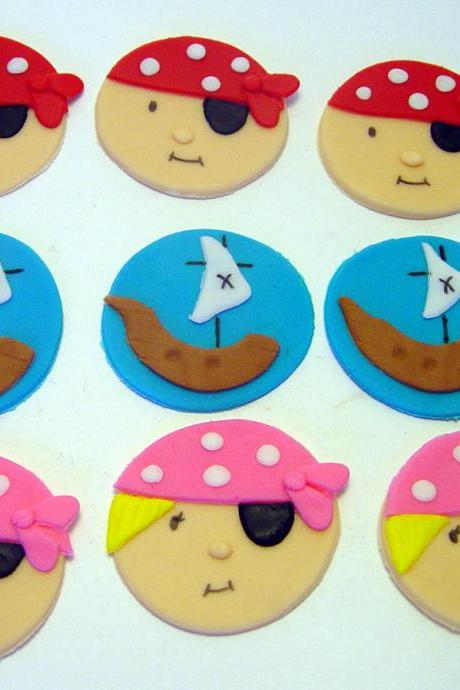 12 Fondant Pirate Cupcake Toppers