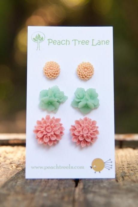Pink Chrysanthemum, Turquoise-Green, Peach Chrysanthemum Flower Cabochon Post Earring Set Vintage Style - Pirouette