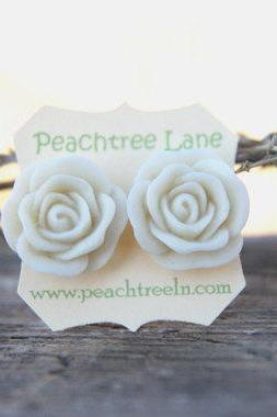 Large Cream-Ivory Rose Stud Earrings perfect for Bridesmaid or Maid of Honor Gifts