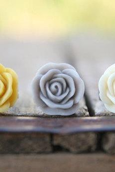 Mustard Yellow Rose Flower, Cream-Ivory Rose, Grey Rose Assorted Ring Trio - Earl Grey