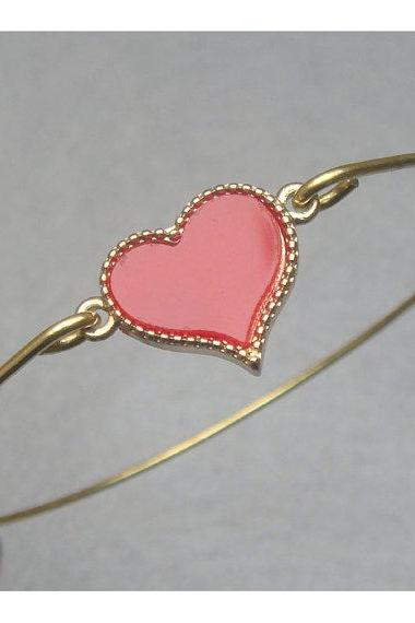 Lovely Red Heart Bangle Bracelet