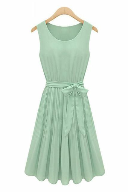 Light Green Chiffon Scoop Neck Sleeveless Short Ruffled A-Line Dress Featuring Bow Accent Belt