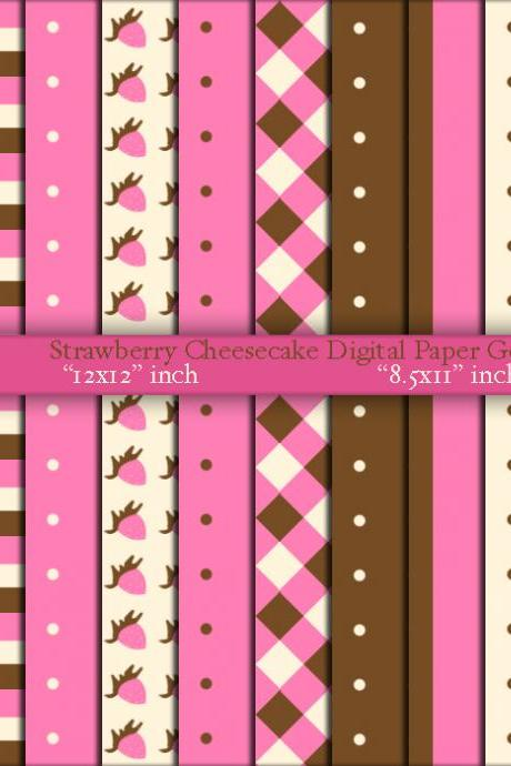 Girls Strawberry Cheesecake Digital Paper Goods - Cupcake Wrappers Treat Cups