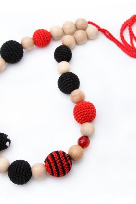 Nursing Juniper necklace /Teething amigurumi toy Ladybug - sling mom accessory
