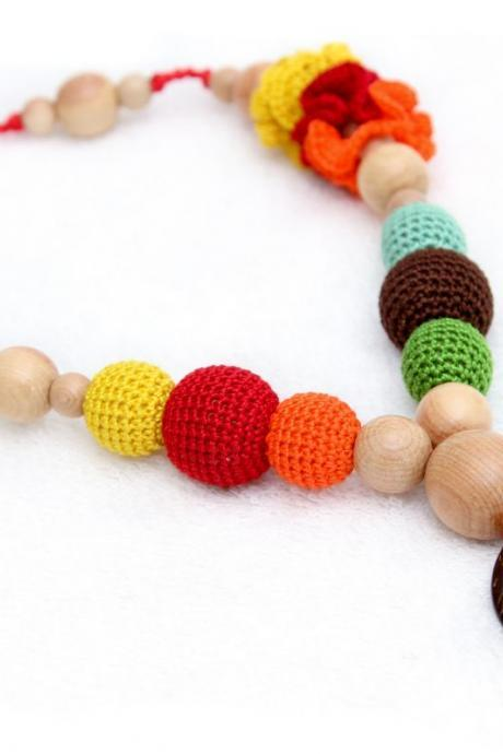 Colorful Nursing/Breastfeeding necklace - Teething toy with a coconut button - Crochet sling necklace