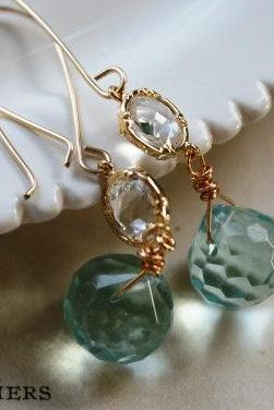 Breezy Earrings - Quartz and Gold