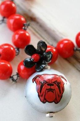 Vintage Bulldog Bottle Cap Necklace - Vintage Bottlecap Pendant, Glass, Enamel Button and Oxidized Sterling Silver