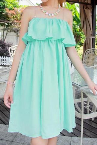 Mint Green Ruffles Dress