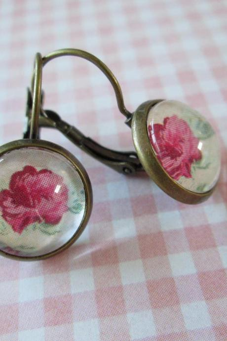 Antique Brass Leverback Earrings - Shabby Chic Roses - Pink