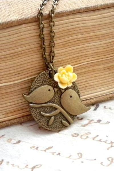 Kissing Couple Pendant - Bird Necklace - Ivory Flower Necklace