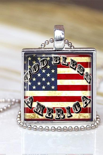 God Bless America Flag Glass Pendant, Flag Necklace, Flag Charm, Patriotic Necklace Red white and Blue jewelry, Star Pendant