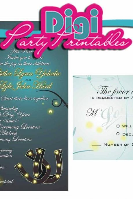 Digital Mason Jar Fireflies Horseshoes Country Wedding Invitation and RSVP - Suite