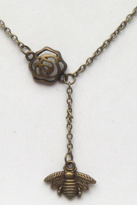 Antiqued Brass Flower Bee Necklace