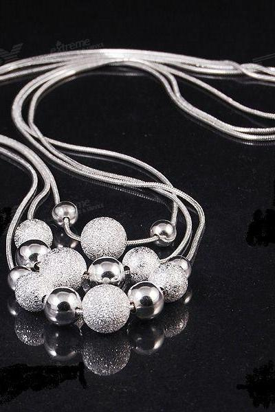 .925 Silver 3 Layer Round Ball Necklace