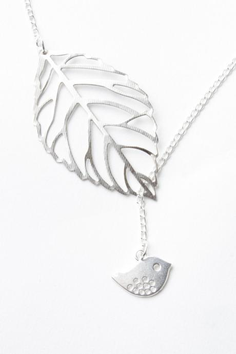 Bird necklace - leaf necklace - bird and leaf necklace - silver leaf - silver bird - bird jewelry -lariat- leaf jewelry - delicate necklace