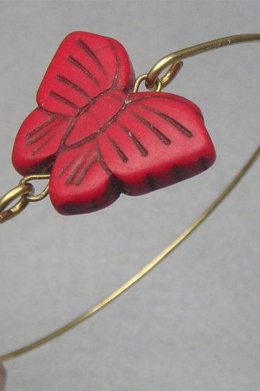Red Turquoise Butterfly Brass Bangle Bracelet