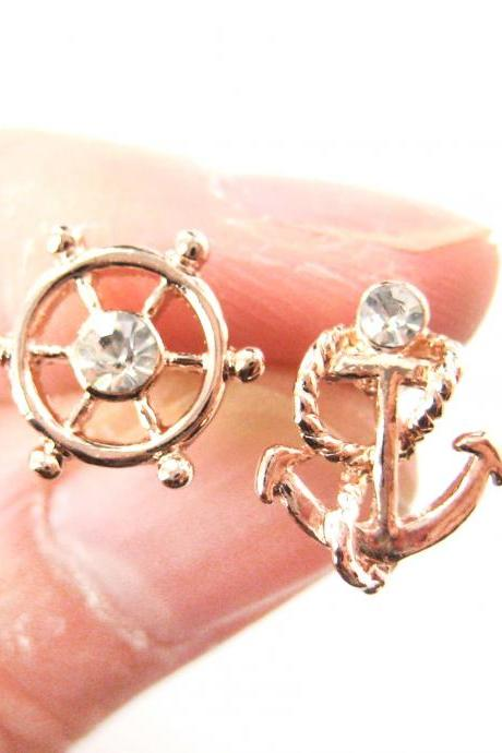 Classic Anchor and Wheel Nautical Themed Stud Earrings in Rose Gold with Rhinestones