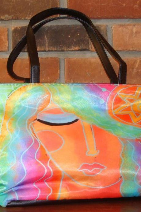 Colorful Abstract Digital Portrait of a Woman Printed on Handbag Purse Shoulder Bag