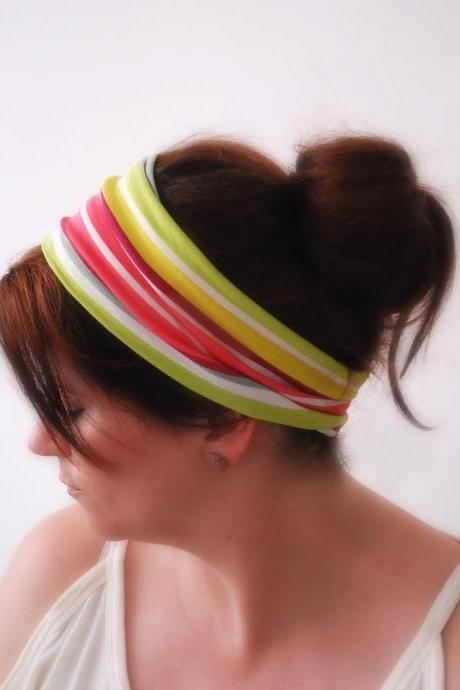 Multi-colored Striped Wide stretchy headband Striped hair band