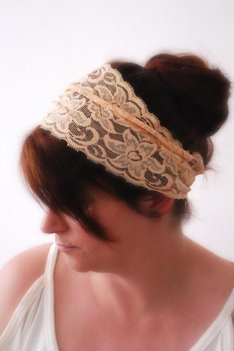 Simple Wide IVORY hairband Stretch Lace headband Summer hairband Fashion accessory