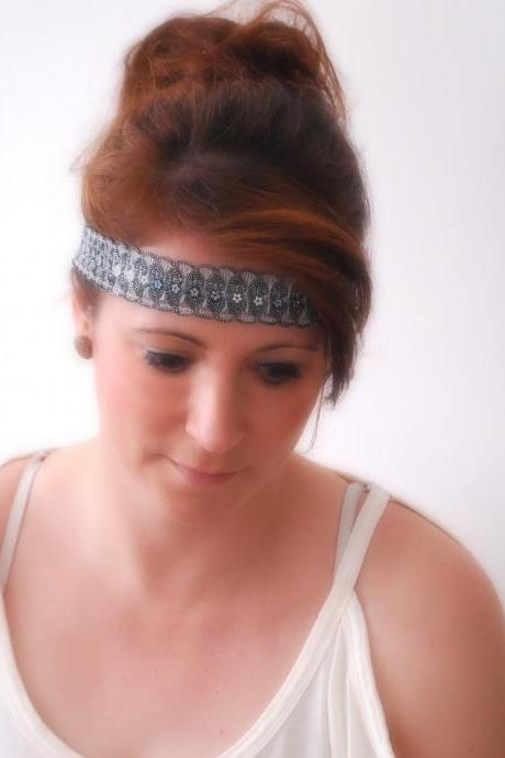 Festive BLACK hair band with stretch elastic at the back Stretchy Fit hairband with Glitter inspired by the Great Gatsby