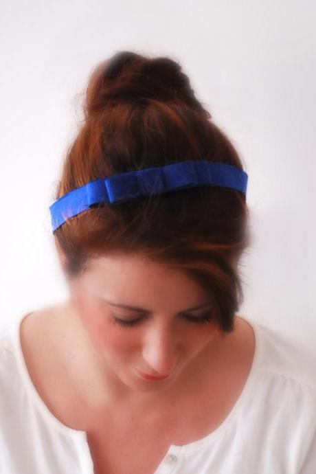 Thin COBALT BLUE Bow Hair Band with stretch elastic at the back Stretchy Fit hairband Faux Suede look