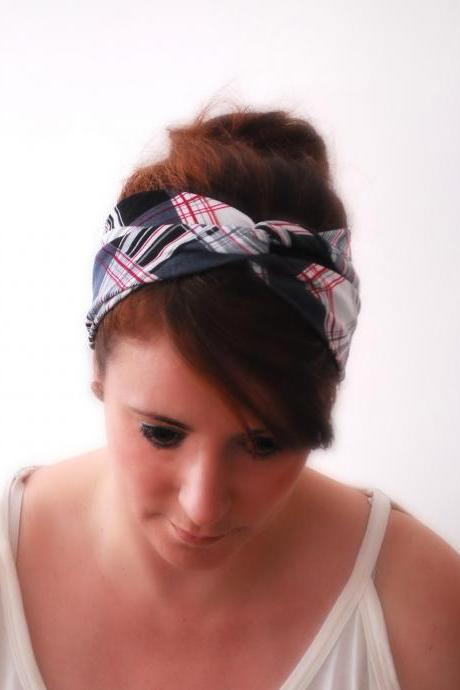 Twisted Headband in Checkered Print Jersey Hair Wrap Stretch Hair band