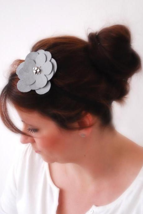 Elegant GREY Flower with beads on a thin black elastic band Faux Suede Look Feminine