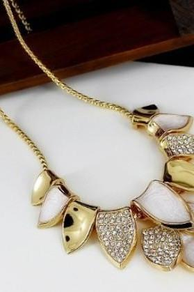 gold plated fashion chain necklace Leaf Bridal Wedding Sautoir