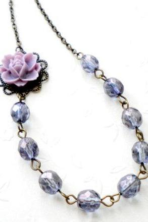 Purple Necklace - Flower Necklace - Vintage Necklace