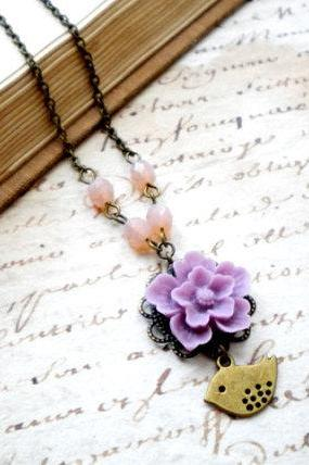 Lilac Flower Necklace - Bridesmaid Necklace - Bird Necklace - Vintage Necklace