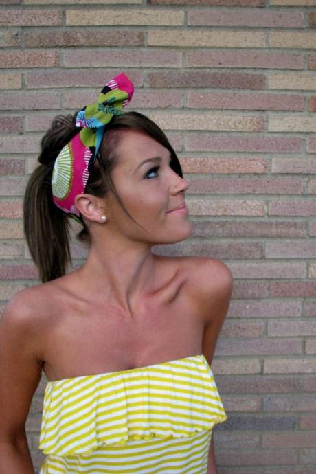 Vintage Inspired Pin Up Dolly Bow Headband With Easy Twist Wire in Designer Fabric