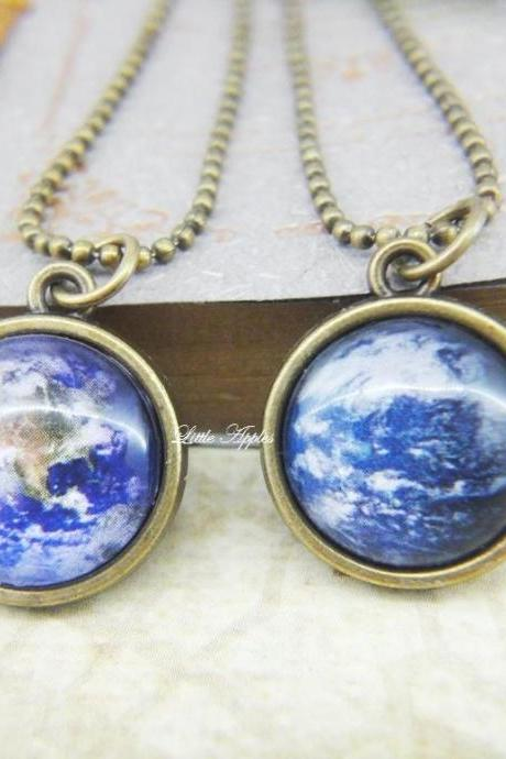 Awareness Save our planet Earth two sided glass necklace