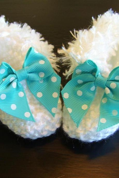 Delicate Handmade White Baby Booties