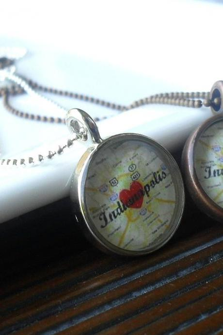 Indianapolis Map Necklace