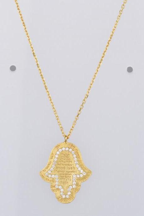 Evil Eye Hamsa hand of fatima Necklace Yellow Gold Over Solid Silver