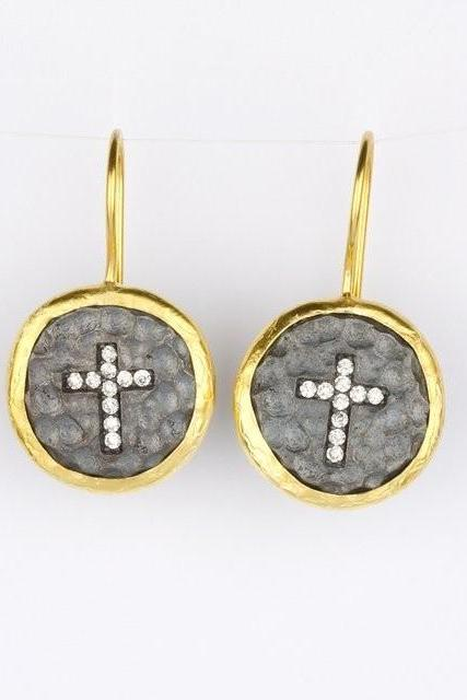 Cross Design Black Silver Handmade Earring