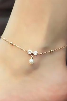 Studded Bow Tie Anklet With Pearl