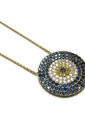 18K gold plated over silver 925 evil eye necklace round pendant