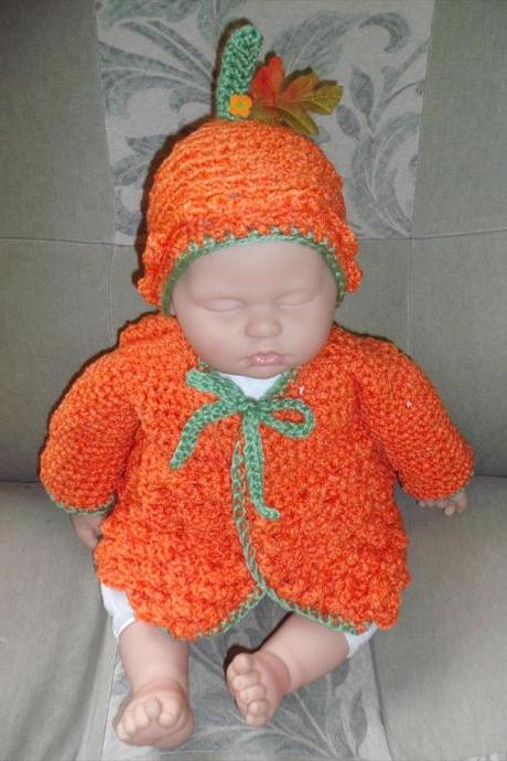 Little Pumpkin custom order sweater and hat for babies