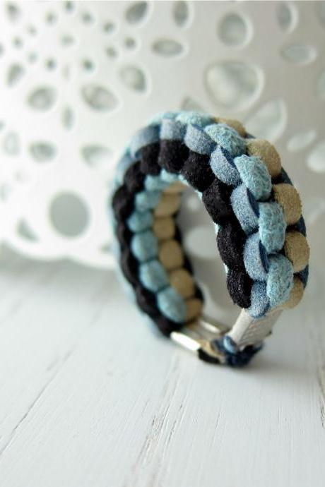 Muse Ring No.1 - hand woven braid faux eco friendly suede braid in denim cream black turquoise (made to order)