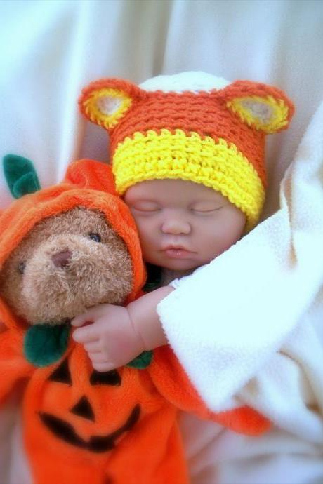 Candy Corn Bear Newborn Crochet hat