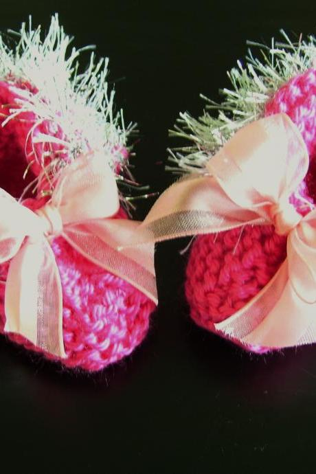 Silver Trimmed Delicate Handmade Bright Pink Baby Booties
