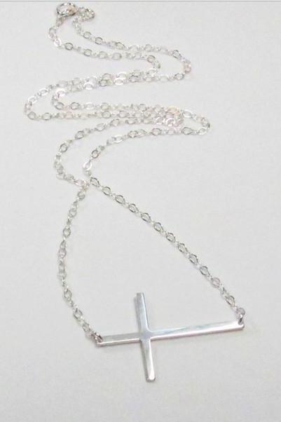Skinny Sideways Cross Sterling Silver Celebrity Inspired Necklace handmade