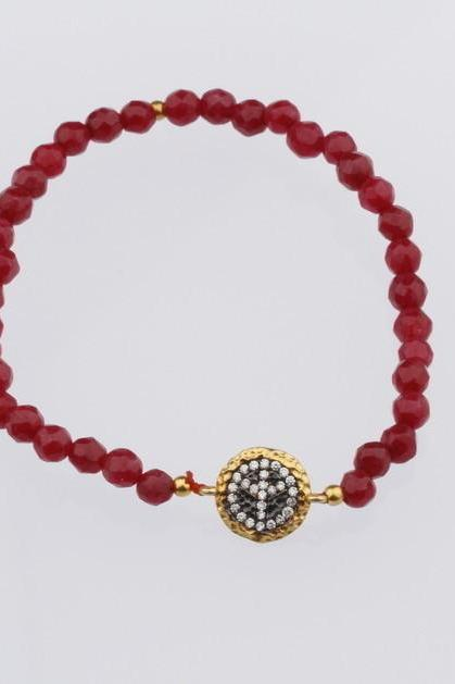 Peace Sign Red color Natural Ruby Beads Stretch Evil Eye Bracelet