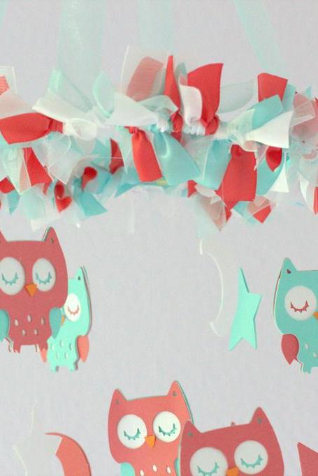 Small Owl Nursery Mobile in Aqua, Coral & White- Baby Mobile, Crib Mobile, Baby Shower Gift