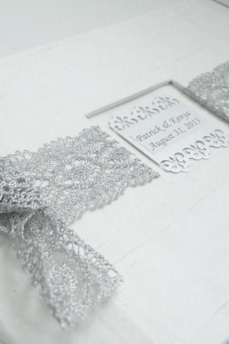 Wedding Guest Book/Photo Album w/Silver French Lace (Custom Colors Available)