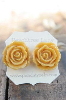 Mustard Yellow Rose Flower Earrings // Goldenrod Flower Earrings // Bridesmaid Gifts // Rustic Vintage Wedding